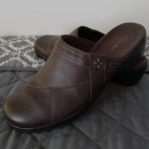 Clarks Slip on Mule Brown Leather Shoes